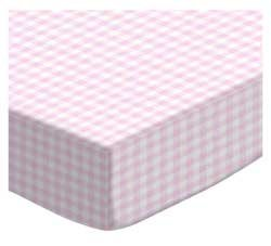 SheetWorld Fitted Sheet  - Pink Gingham Jersey Knit - Made I