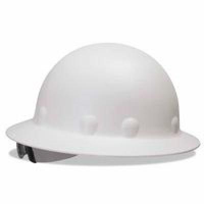 Fibre Metal P1 Roughneck Full Brim Injection Molded Fiberglass Hard Hat with Ratchet Suspension, White