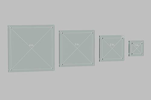 "Square Quilting Template Set, 4"", 3"", 2"", 1"" with 1/4"" Seam Allowance"