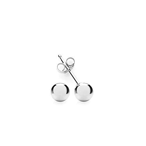 Sterling Silver Ball Stud Earring 3mm-10mm (4 Millimeters) ()