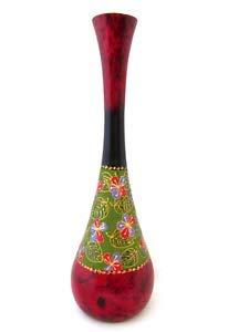 Large Hand Painted Wood Vase Mango Wooden Decorative