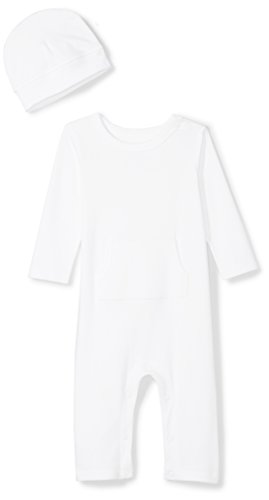 Moon and Back Baby Organic Long-Sleeve One-Piece Pocket Coverall with Cap Set, White Cloud, 0-3 - Piece White One Sleeve Long