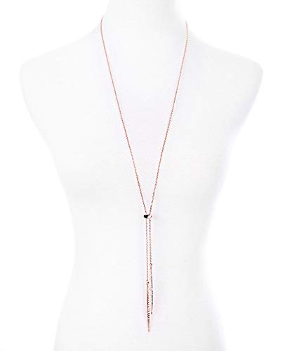 Gimax Rhinestone Pave Thin Spear Spike Dagger Pendant Lariat Necklace Fashion Female Minimal Modern Jewelry Wholesale N3347 - (Metal Color: Rose Gold, Main Stone Color: Clear)