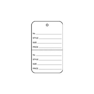 American # 5210W, 1 1/4'' White, Strung Apparel Colored Tags, Apparel Tags Colored with Perforation (2000 per Box)