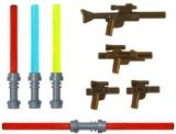 LEGO Lightsaber & Blaster Rifle Pack (4 Lightsabers) (4 Blasters) - LEGO Star Wars Minifigure Accessories -
