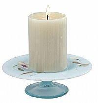 (Fenton Art Glass Sand Petals on Aquamarine Opalescent Stretch Candle Plate)