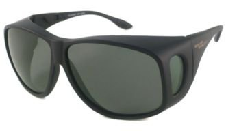 Solar Shield Fits-over Sunglasses EXTRA LARGE / Frame-Matte Black Lens-Grey/Green - Large Extra Glasses Frames Mens