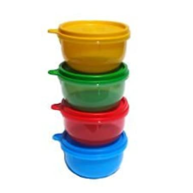 Tupperware Ideal Little Bowl Set of 4 in Green, Red, Blue and Yellow