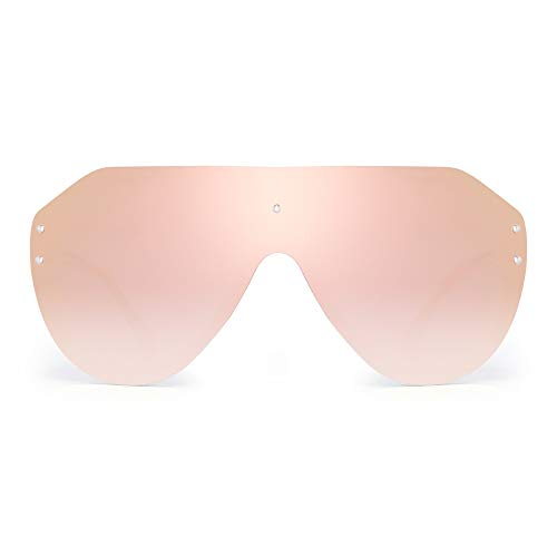 JIM HALO Oversized Shield Sunglasses Rimless Flat Top Mirror Glasses Women Men (Matte Transparent Frame/Mirror Pink Lens)