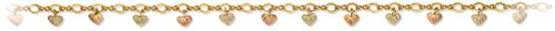 Heart Shape Leaf Anklet Bracelet, 10k Yellow Gold, 12k Green and Rose Gold Black Hills Gold Motif