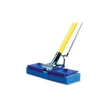 "Miller's Creek MLE619315 Butterfly Mop, Scrubber Strip,  9.88"" x 1.13"" Sponge Head, 47"" x 0.88"" Handle, Squeeze-Action, Blue"