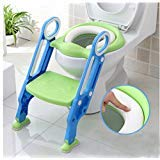 New Safety Potty Chair, Toddler Plastic Potty Training Toilet, Kids Soft Folding Potty Seat with Sturdy Non Slip Ladder and Anti Slip Pads