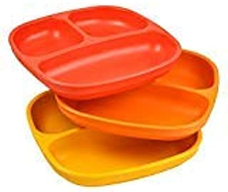 product image for Re-Play Made in USA 3pk Divided Plates with Deep Sides for Easy Baby, Toddler, Child Feeding - Red, Orange & Sunny Yellow (Fall)