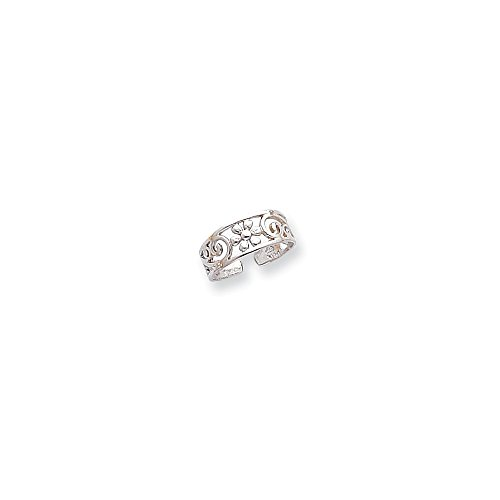 Floral Toe Ring (14K White Gold Floral Toe Ring)
