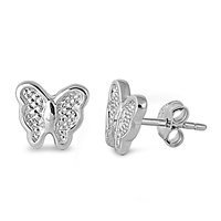 Petite Butterfly .925 Italian Sterling Silver Small Post Stud Earrings (Pierced (Tiffany Butterfly Earrings)