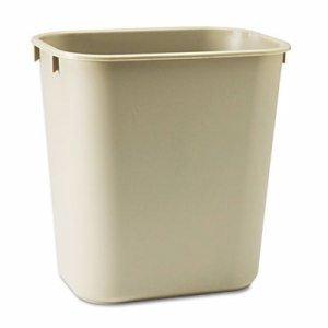 Rubbermaid Commercial 295500BG Deskside Plastic Wastebasket Rectangular 3 1/2 gal Beige