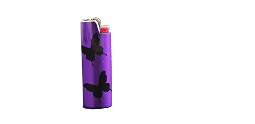 Butterfly BIC Lighter Cover Metal Blank Vinyl Design - CUSTOM MADE by Custom Cuts and Creations LLC