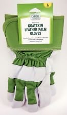 WOMEN'S GOATSKIN LEATHER PALM AND KNUCKLES GARDENING WORK GLOVES WITH SAFETY CUFF (size large)