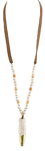 - Fashion Jewelry ~ Arrow Head Pendant Lucite Wooden Beads Faux Suede Long Necklace (Natural Color)