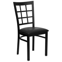 Hercules Window Back Chair with Curved Support Bar – Set of 2 (Black Vinyl Upholstery) Review