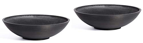 Concrete Round Planter - Veradek Lane Bowl Round Planter - 24 diam. X 6H in. - 2 Pack (Black)