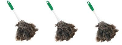 Libman Commercial 239 Handheld Feather Duster, Polypropylene and Sanoprene Handle, 13'' Total Length, Green and White Handle (Pack of 6) (3-(Pack))