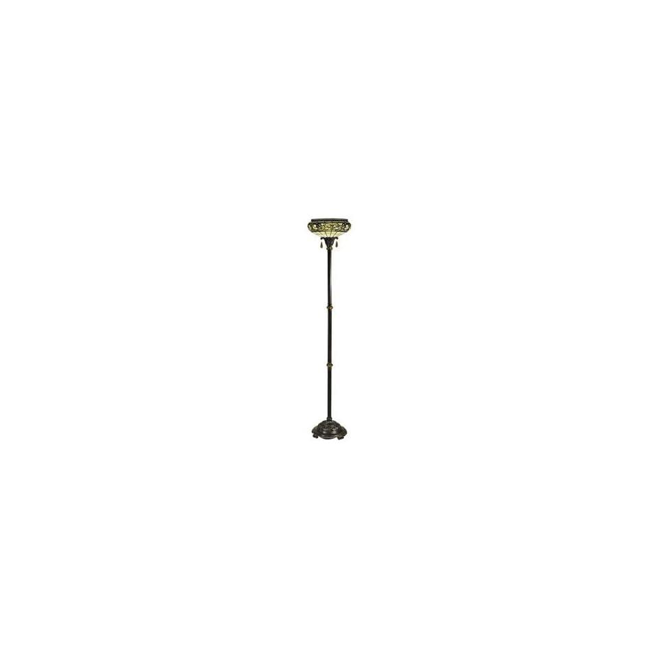 Dale Tiffany Lewellen Antique Bronze Torchiere Floor Lamp