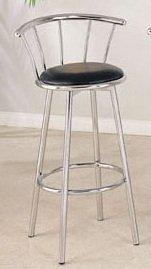 Set of 2 Cucina Black Finish Chrome Plated Swivel Bar Chair 29