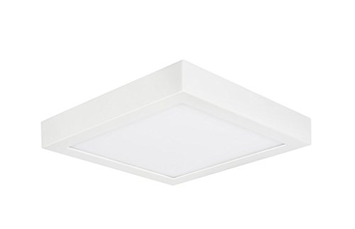 (Aspen Creative 63007L-1 LED Flush Mount Ceiling Light Fixture, Contemporary Design in White Finish, Frosted Glass Diffuser, 9