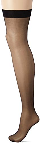 Seven Til Midnight Women's Plus-Size Sheer Thigh High Top Stocking, Black, Queen Size -
