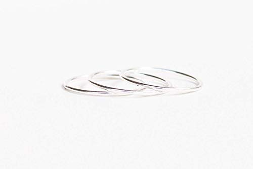 Sterling Silver Thin Smooth Stacking Ring Set of 3 Size 9