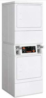 Speed Queen SSESXAGS173TW01 Electric Commercial Stack Dryer with 18 lbs. Capacity, Coin Slide, 4 Drying Cycles, in White