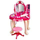 Super Cute Pink Princess Make Up Vanity Table For Little Girls with Sound and Light, Fit for A Princess Toy Vanity, Toys For Girls, Fun Pretend play for Children by AJ Toys & Games