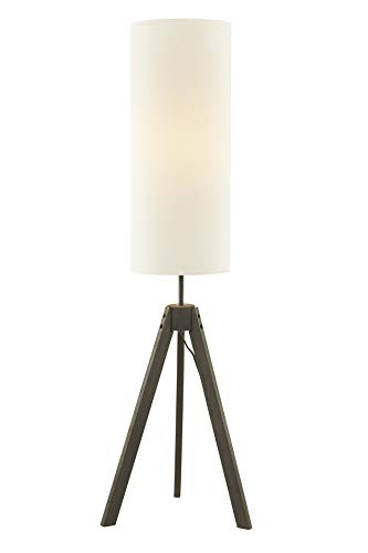 Modern Style Floor - LeeZM Modern Wood Tripod Floor Lamp with White Drum Weave Shade for Living Room, Bedrooms Mid Century Standing Lamp for Kids,Baby Room, Office Contemporary Tall Stand Up Light Wooden Tripod Lamp