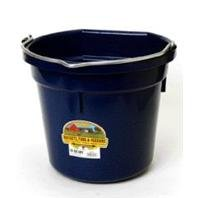 LITTLE GIANT Flat-Back Dura-Flex Plastic Bucket, 20-Quart, Navy Blue