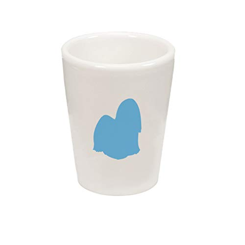 Style In Print Light Blue Lhasa Apso Silhouette Ceramic Shot Glass Cup -