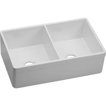 Elkay Fireclay SWUF32189WH Equal Double Bowl Farmhouse (Design Fireclay Sink)