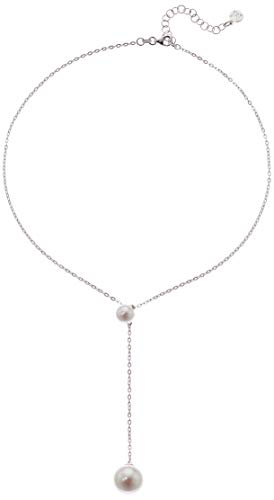 - Majorica Womens Rosa 8-12MM White Round Pearl Chain Pendant In Sterling Silver