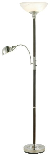 "Adesso 4052-15 Lexington 71"" Combo 2-Light Floor Lamp, Walnut, Smart Outlet Compatible"