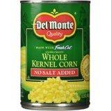 Del Monte Whole Kernel Corn, No Salt Added 15.25oz - 12 Pack