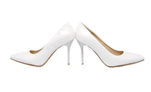 Flats AgooLar GMMDB006950 Maiale Alto Pelle Ballet Tacco Bianco Tirare Puro di Donna rqvrtxwzX
