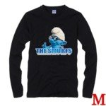 Cute The Smurf Style 100% Cotton Long-Sleeve T-Shirt-Brainy Smurf Pattern/Size M
