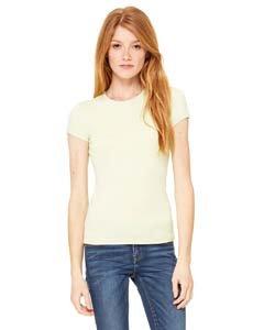 (Bella Ladies Super soft 1x1 baby rib knit fabric T Shirt - Lime Wedge - Medium)