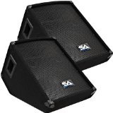 Seismic Audio - Pair of 10'' Wedge Style FLOOR MONITORS - Studio, Stage, or Floor use - PA/DJ Monitors by Seismic Audio