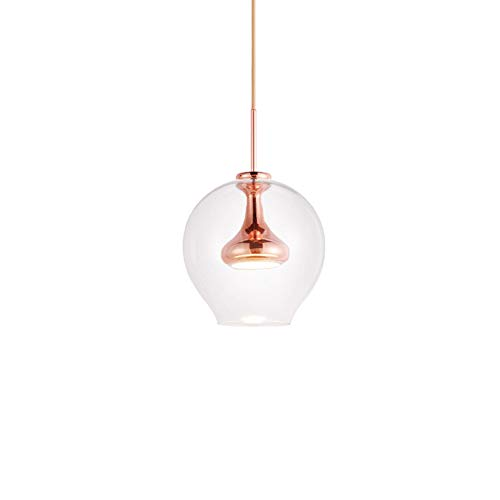 CCSUN LED Globo de cristal Luz pendiente, Simple Esférica Luz colgante Para Comedor Pasillo El balcón D:23cm(En 9)-Or Rose...