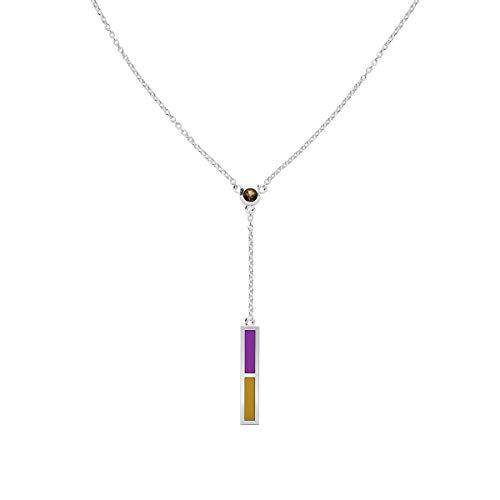 Bixler Purple Heart - Light Smokey Quartz Drop Necklace in Purple and Gold