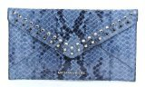 Michael Kors Jet Set Travel Jewel Large Envelope Clutch Denim Leather Wallet