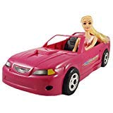 Chezza! Bundle Glam Pink Convertible Ford Mustang Doll Toy Car, Comes with one 11.5' Fully Dressed Fashion Doll