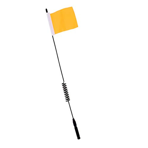 Flameer 29cm Metal Antenna Decoration with Mini Flag for 1:10 Scale RC Buggy Trucks - Yellow (Rc Truck Antenna)