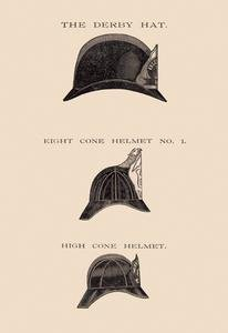 - Derby Hat, Eight Cone and High Cone Helmets Fine art canvas print (20 x 30)